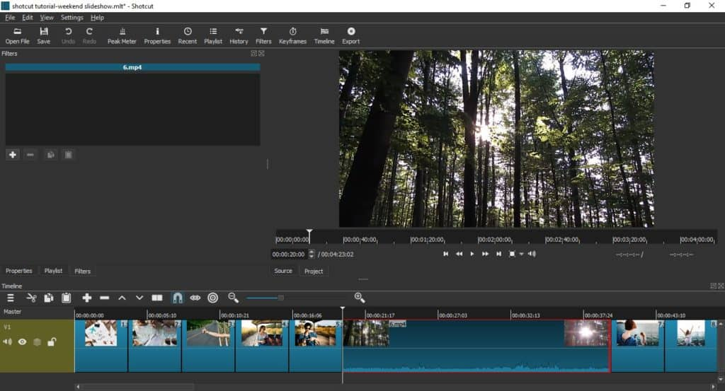 how to trim videos in shotcut