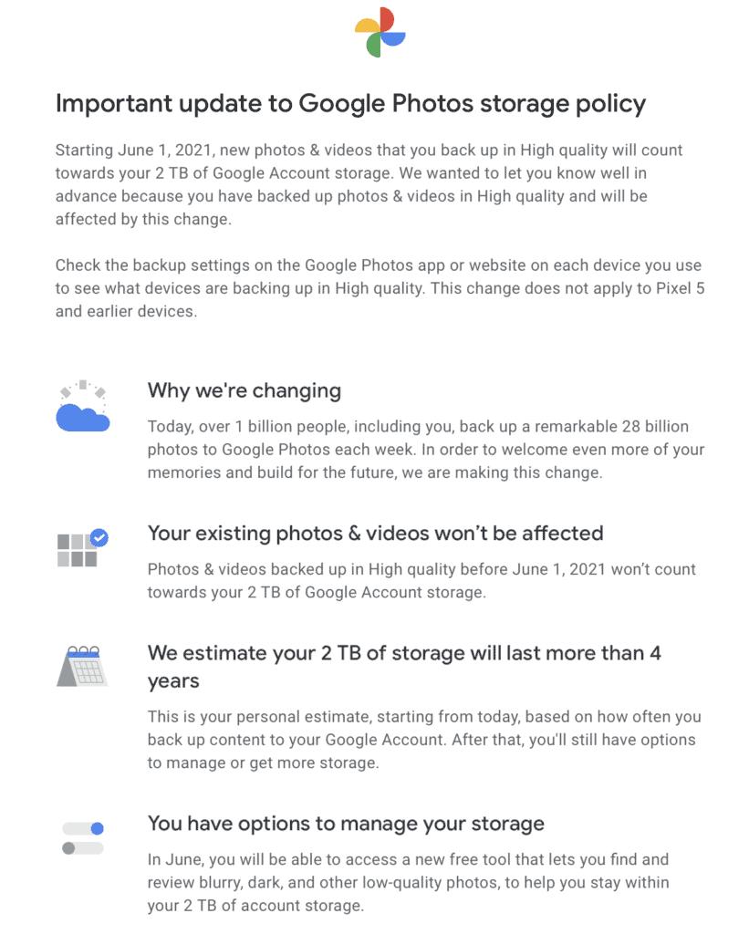 Google Photos Storage Policy